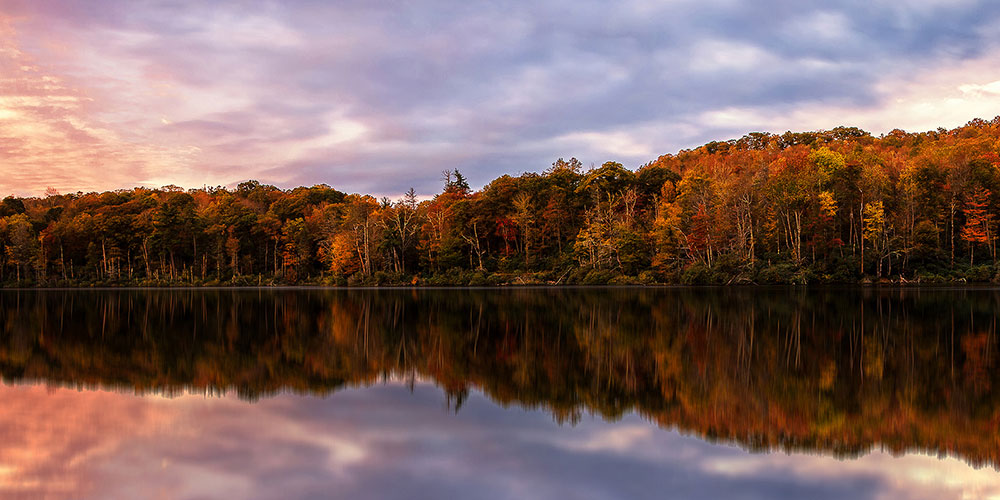 A striking autumn sunrise at Trout Lake. | Photo © Victor Ellison