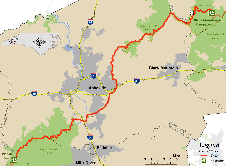Asheville Elevation Map.Segment 3 Mountains To Sea Trail