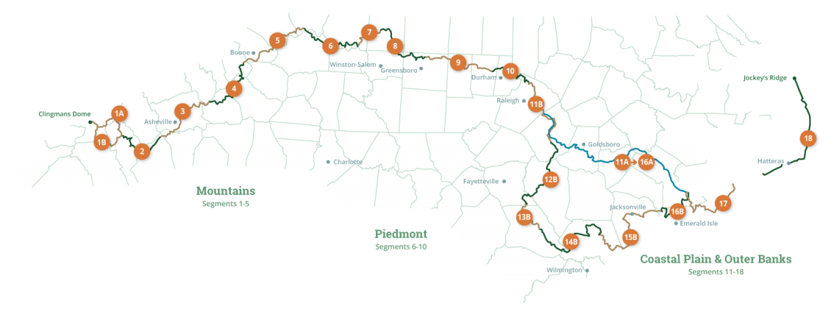 Mountains-to-Sea Trail Segment Map
